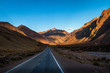 Sunset on Ruta 7 the road between Chile and Argentina through Cordillera de Los Andes - Mendoza Province, Argentina