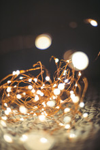 Fairy Lights In Jar At Night Bokeh Background