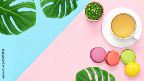 Top view, office table desk with copy space. Workspace frame with green tropical leaf and tea cup, cactus, macaroons on pastel blue pink background. Office concept. Flay lay.