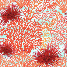 Sea World Seamless Pattern, Background With Fish, Corals And Shells On Blue Sea Background. Stock Vectorillustration.
