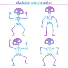 Cute Rainbow Human Skeleton Constructor For Creating Different Poses.