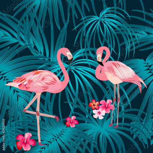 Tropical plant seamless pattern with flamingo, tropical leaves of palm tree. © Artlu
