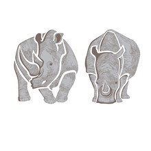Graphic Vector Image Of Two Gray Rhinos