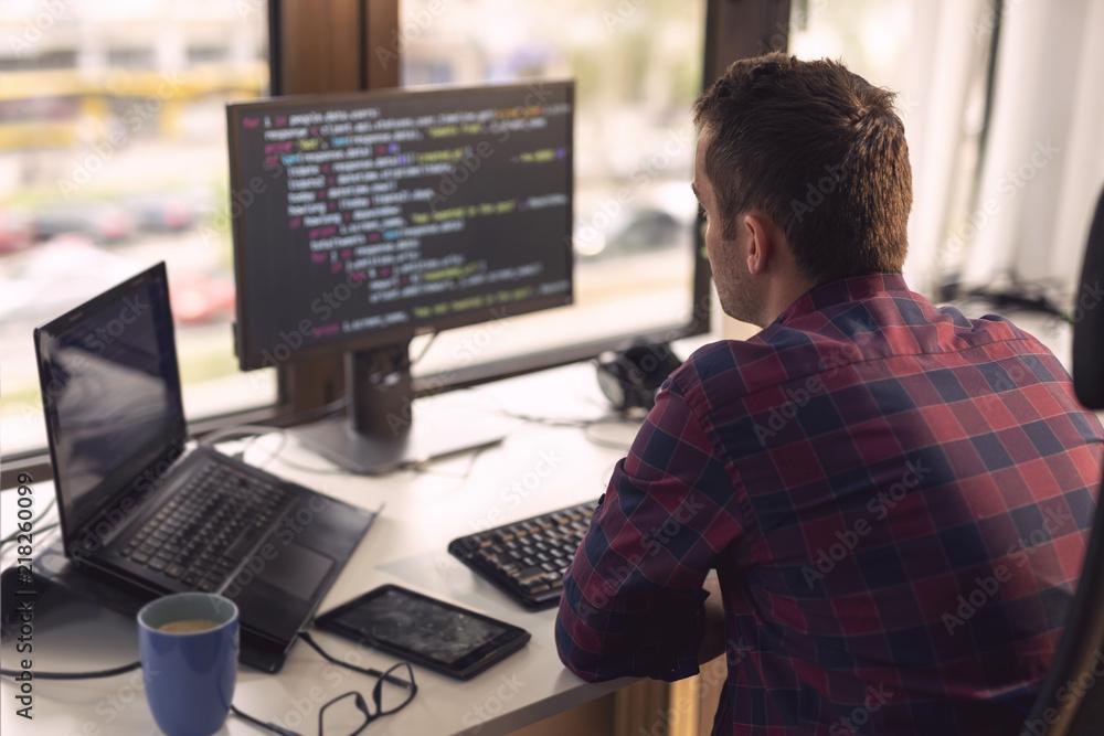 Fototapeta Software developer working