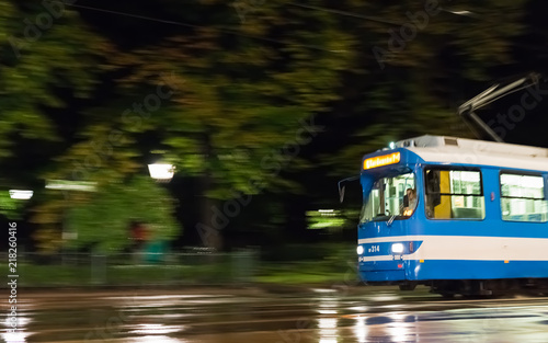 the old streetcar of krakow in motion