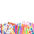 Back to school. School supplies for teaching and children's creativity.
