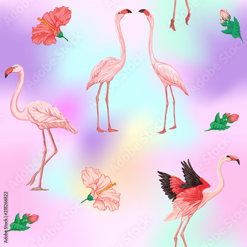 Canvas Prints Flamingo Bird Seamless pattern, background. with pink flamingos and feathers on In light ultra violet pastel colors on mesh pink, blue background. Stock vectorillustration.