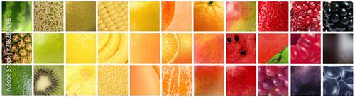 Fotografia Gradiente formado pelas cores de diferentes frutas