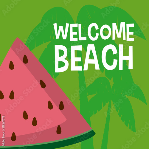 Poster Retro sign Welcome beach cartoons