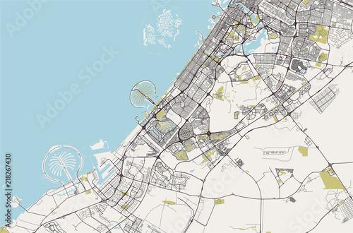 Fényképezés  map of the city of Dubai, United Arab Emirates UAE