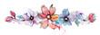 Leinwandbild Motiv Cute watercolor hand painted flower border. Invitation. Wedding card. Birthday card