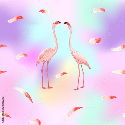 Ingelijste posters Flamingo vogel Seamless pattern, background. with pink flamingos and feathers on In light ultra violet pastel colors on mesh pink, blue background. Stock vector illustration.