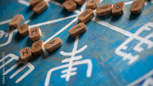 Futhark runes on a vegvisir