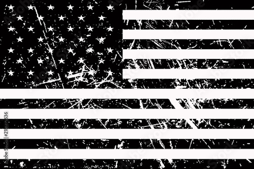 Flag of America is black and white and shabby