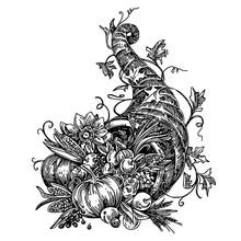 Cornucopia. Sketch. Engraving Style. Vector Illustration.