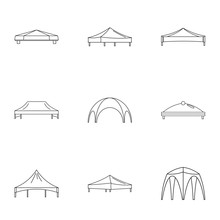Bridge Valance Icons Set. Outl...