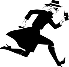 Female Secret Agent Running With A Walkie Talkie, EPS 8 Vector Illustration, No White Objects