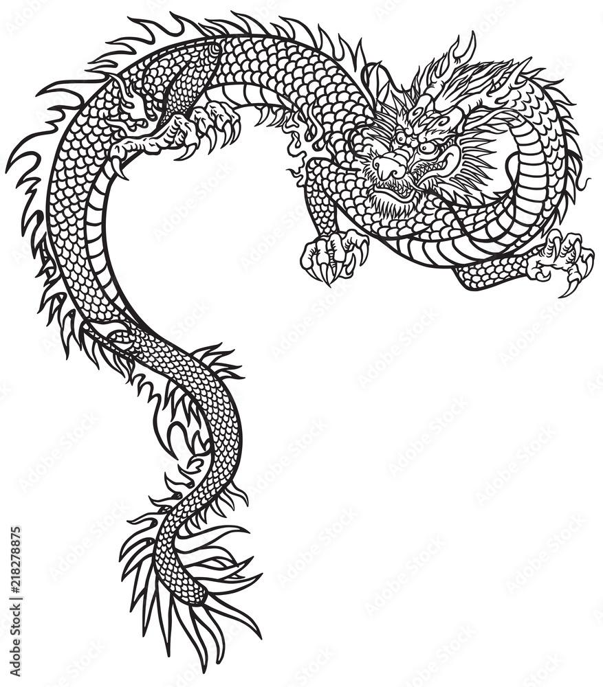 Fototapeta Eastern dragon . Black and white tattoo style outline vector illustration
