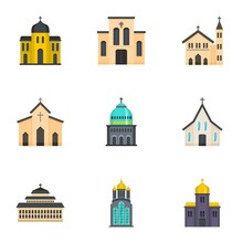 Place Of Worship Icons Set. Cartoon Set Of 9 Place Of Worship Vector Icons For Web Isolated On White Background