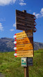 Sign post for trails on Seiser Alm