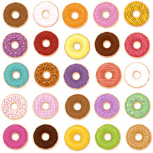 Donut Varieties. Twenty-five Different Donuts With Individual Tastes, Flavors, Colors, Styles. Isolated Vector Illustration On White Background.