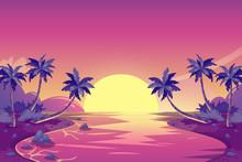 Tropical Summer Sunset. Vector Cartoon Island Landscape Illustration. Palm Trees On The Ocean Beach.