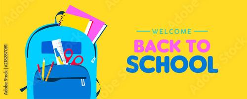 Fototapeta Welcome back to school web banner of kid backpack obraz