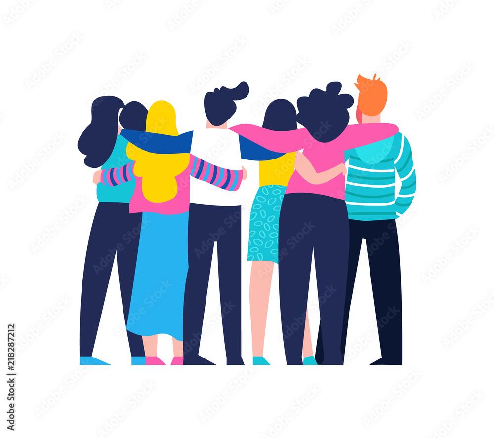 Fototapeta Friend group hug of diverse people isolated