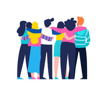 Friend Group Hug Of Diverse Pe...