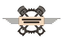 Crossed Pistons Gear Engine Industry Automotive