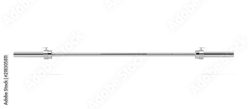 Fotografie, Obraz  3d rendering of a single metal barbell without any weights hanging horizontally on a white background