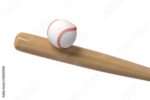 Fotografía  3d rendering of a white baseball with red stitching balancing on a wooden bat in close view