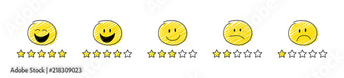 Obraz Set of review icons - star rating with cartoon stickman. Vector. - fototapety do salonu