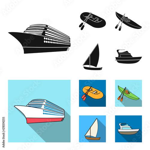 Foto  A rubber fishing boat, a kayak with oars, a fishing schooner, a motor yacht