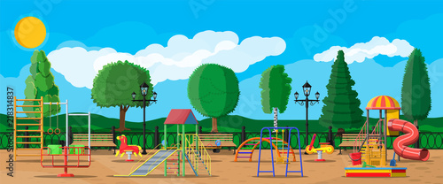 Kids playground kindergarten panorama. Urban child amusement. Slide ladder, rocking toy on spring, slide tube, swing carousel balancer, sandbox bucket rake castle scoop. Vector illustration flat style