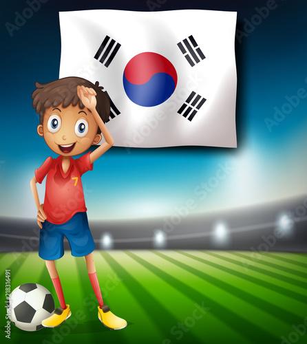 Staande foto Kids A South Korea soccer player