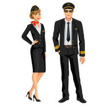 Airline Crew, Stewardess And Pilot. Officer And Flight Attendant. Professions Stewardess And Pilot, Cartoon Characters. Vector Illustration.