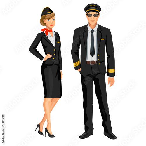 Photo Airline crew, stewardess and pilot