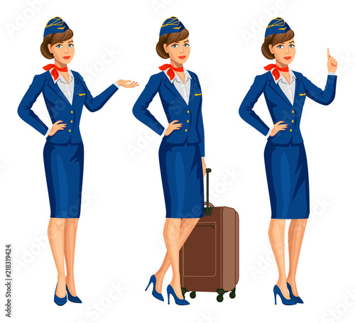 Stewardess in blue uniform Canvas Print