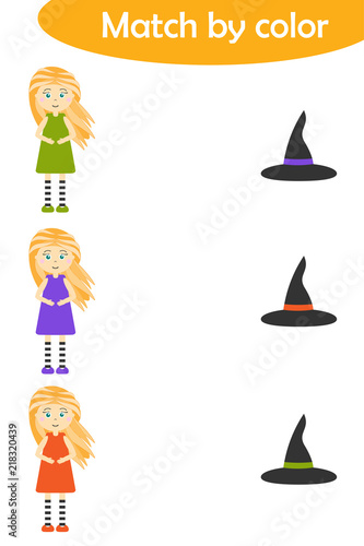 halloween matching game for children connect witches in colorful dresses with same color hats