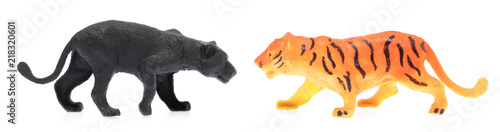 In de dag Panter toy plastic tigers isolated on white background