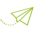 Handgezeichneter Papierflieger in hellgrün