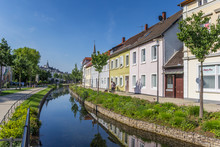 Colorful Canal In The Historic Center Of Detmold, Germany