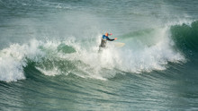 Surfer Riding Crest Of Wave, Fistral, Newquay, Cornwall