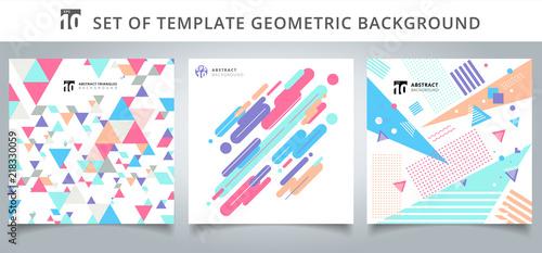 Obraz Set template geometric pattern covers design. - fototapety do salonu