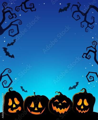 Poster Voor kinderen Pumpkin silhouettes thematics image 1