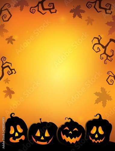 Poster Voor kinderen Pumpkin silhouettes thematics image 2