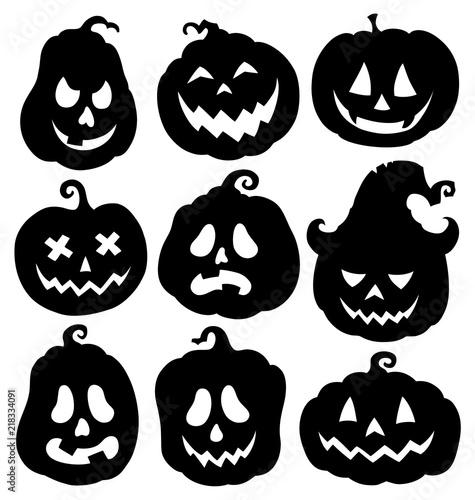 Garden Poster For Kids Pumpkin silhouettes theme set 3