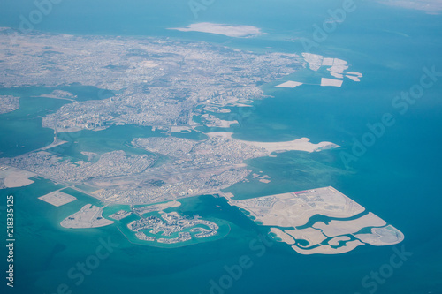 Fényképezés  High altitude aerial view of the north part of Bahrain