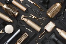 Full Frame Of Professional Hair Dresser Tools On Black Background
